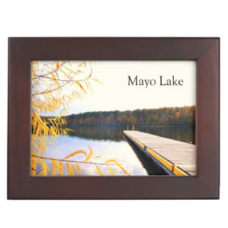 Lake Boat Dock in Autumn Keepsake Box