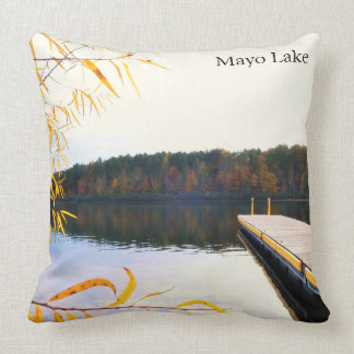 Lake Boat Dock in Autumn Throw Pillow