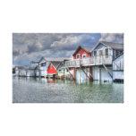 Lake boathouses canvas print