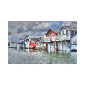 Lake boathouses canvas print
