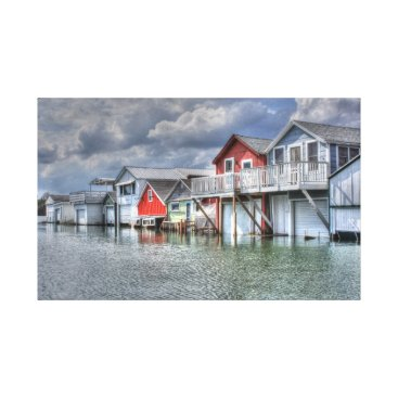 crader9 Lake boathouses canvas print