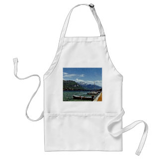 Lake Boats and Mountains in Annecy France Adult Apron