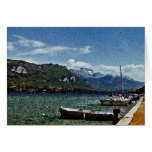 Lake Boats and Mountains in Annecy France Stationery Note Card