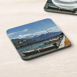 Lake Boats and Mountains in Annecy France Coaster