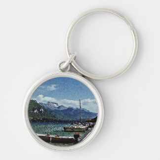 Lake Boats and Mountains in Annecy France Keychain