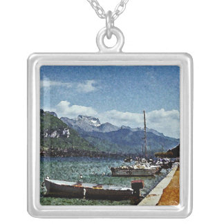 Lake Boats and Mountains in Annecy France Custom Necklace