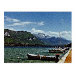 Lake Boats and Mountains in Annecy France Postcard