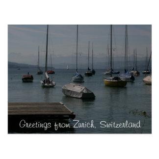 Lake Boats Zurich Postcard