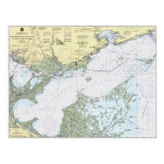 Lake Borgne LA Nautical chart postcard