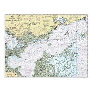 Lake Borgne LA Nautical chart postcard