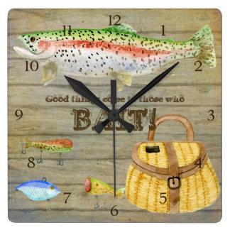 Lake Cabin Trout Fishing Creel Lures Vintage Square Wallclocks