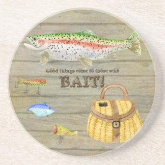 Lake Cabin Trout Fishing Creel Lures Vintage Beverage Coaster