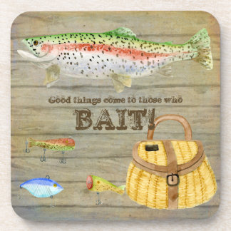Lake Cabin Trout Fishing Creel Lures Vintage Coaster