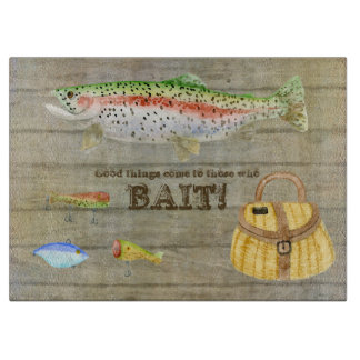 Lake Cabin Trout Fishing Creel Lures Vintage Cutting Board