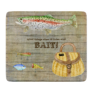 Lake Cabin Trout Fishing Creel Lures Vintage Cutting Boards