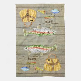 Lake Cabin Trout Fishing Creel Lures Vintage Towel