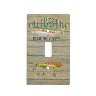 Lake Cabin Trout Fishing Creel Lures Vintage Switch Plate Covers