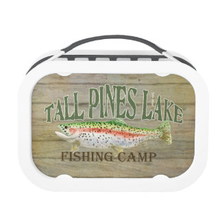 Lake Cabin Trout Fishing Creel Lures Vintage Yubo Lunch Box