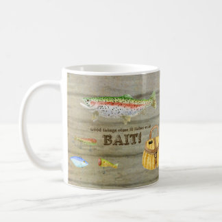 Lake Cabin Trout Fishing Creel Lures Vintage Classic White Coffee Mug