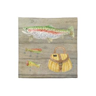 Lake Cabin Trout Fishing Creel Lures Vintage Cloth Napkins