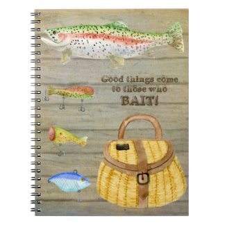 Lake Cabin Trout Fishing Creel Lures Vintage Notebooks