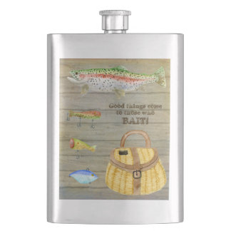 Lake Cabin Trout Fishing Creel Lures Vintage Hip Flasks