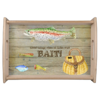 Lake Cabin Trout Fishing Creel Lures Vintage Serving Trays