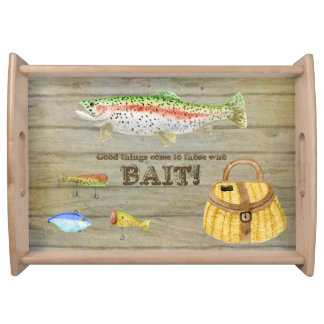 Lake Cabin Trout Fishing Creel Lures Vintage Service Trays