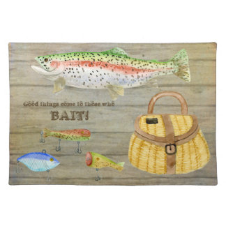 Lake Cabin Trout Fishing Creel Lures Vintage Cloth Placemat