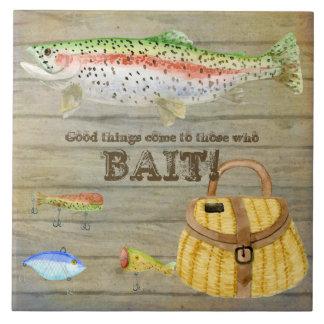 Lake Cabin Trout Fishing Creel Lures Vintage Large Square Tile