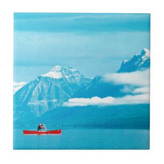 Lake Canoeing At Glacier Park Montana Ceramic Tiles