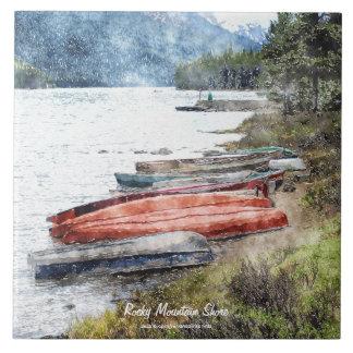 "Lake & Canoes Watercolour Art 6"" Decorative Tile"