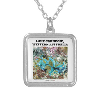 Lake Carnegie Western Australia Satellite Imagery Square Pendant Necklace