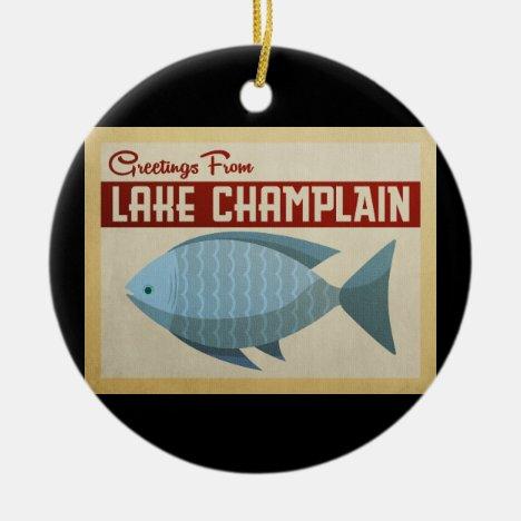 Lake Champlain Fish Vintage Travel Ceramic Ornament