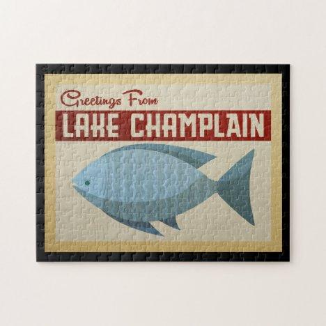 Lake Champlain Fish Vintage Travel Jigsaw Puzzle