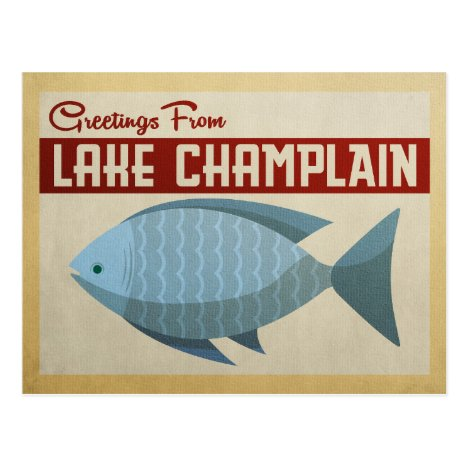 Lake Champlain Fish Vintage Travel Postcard