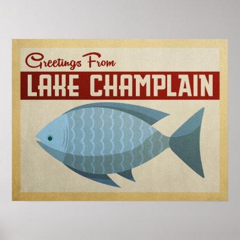 Lake Champlain Fish Vintage Travel Poster