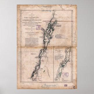 Lake Champlain Lake George Crown Point Map (1776) Poster