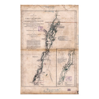Lake Champlain Lake George Crown Point Map (1776) Stationery
