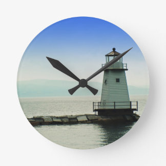 Lake Champlain Lighthouse Round Clock