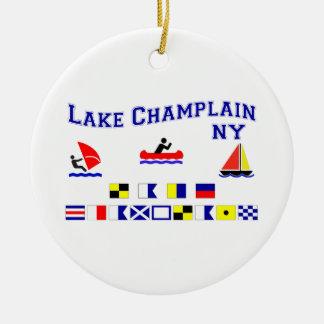 Lake Champlain NY Signal Flags Ceramic Ornament