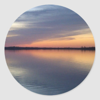 Lake Champlain sunset from Alburgh, VT Round Stickers