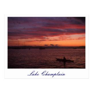 Lake Champlain Sunset Paddler Postcard