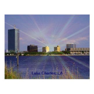Lake Charles, horizonte del LA con resplandor Tarjeta Postal
