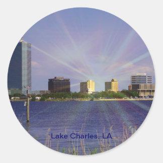 Lake Charles, LA Skyline with Sunburst Round Sticker