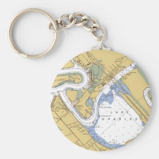 Lake Charles, Louisiana Nautical Harbor Chart keys Keychain
