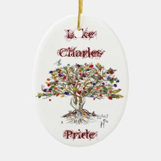 Lake Charles Pride Tree Ceramic Ornament