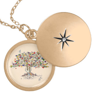Lake Charles Pride Tree (pendant) Gold Plated Necklace