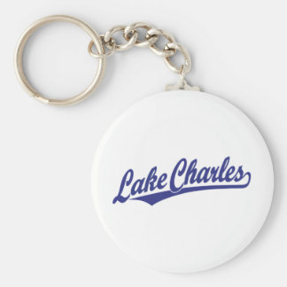 Lake Charles script logo in blue Keychain