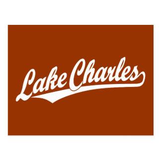 Lake Charles script logo in white Postcard